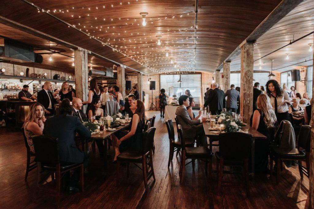 Kolo Klub Wedding Hoboken Nj Ny Nyc W Hotel Rustic String Lights Wooden Interior